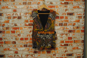 Fresh Vintage Gilet with Colorful Assymetric African Pattern 90s Ghetto Style