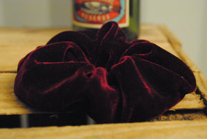 Handmade red velvet scrunchie