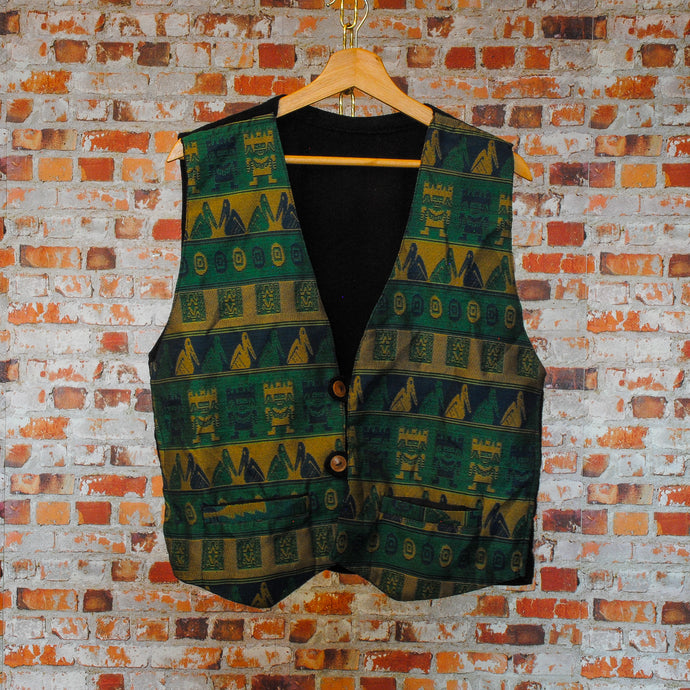 Green-gold-fresh-vintage-gilet-on-hange