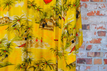Load image into Gallery viewer, yellow-beach-fresh-vintage-shirt-zoom-pattern-wooden-shed-and-two-tiny-childeren-wit-red-skirt-waving-between-the-palmtrees