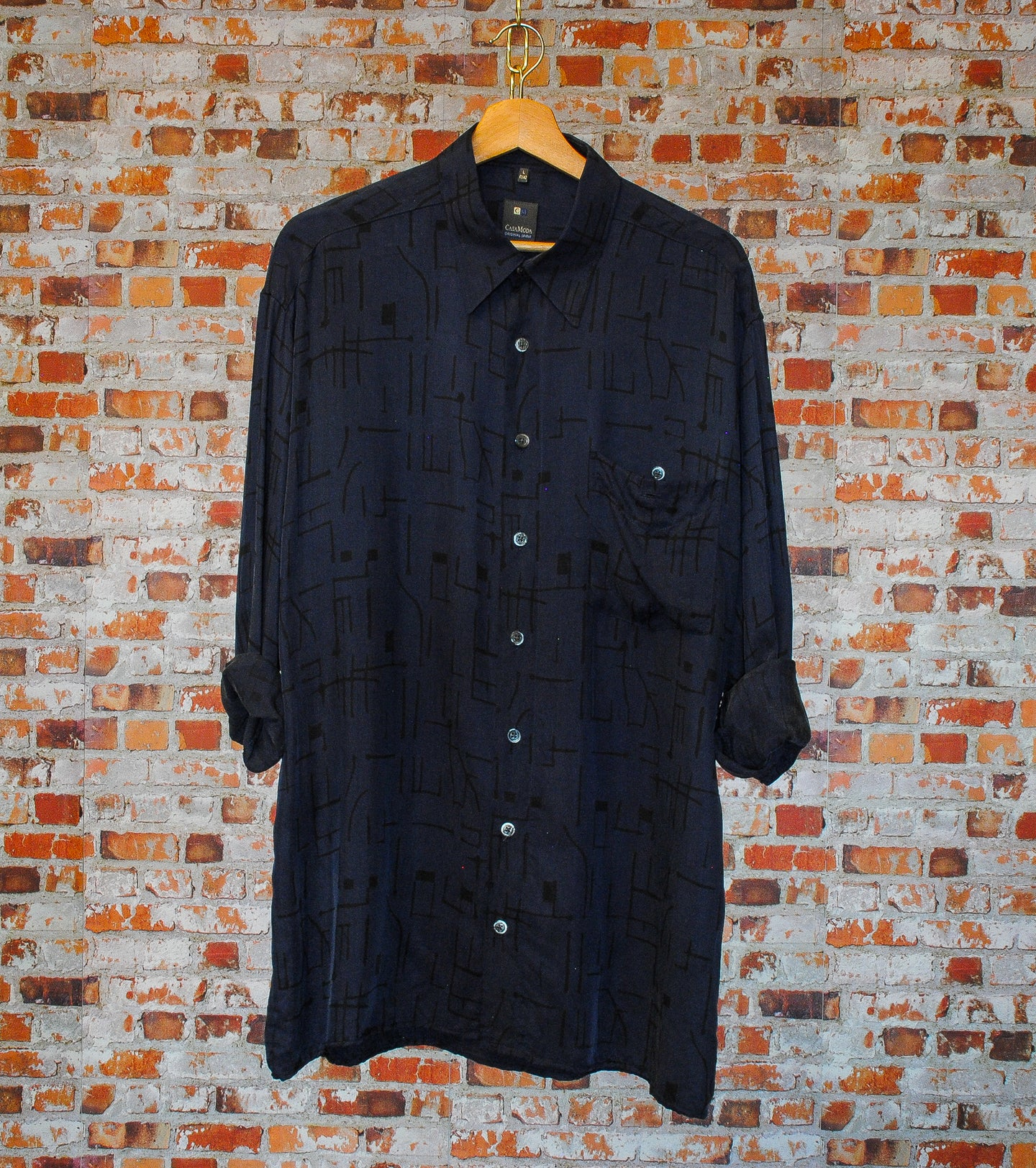 Blue-Silk-Fresh-Vintage-Shirt-On-Hanger