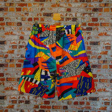 Load image into Gallery viewer, Funky-fresh-vintage-shorts-in-multi-colors-on-hanger-back