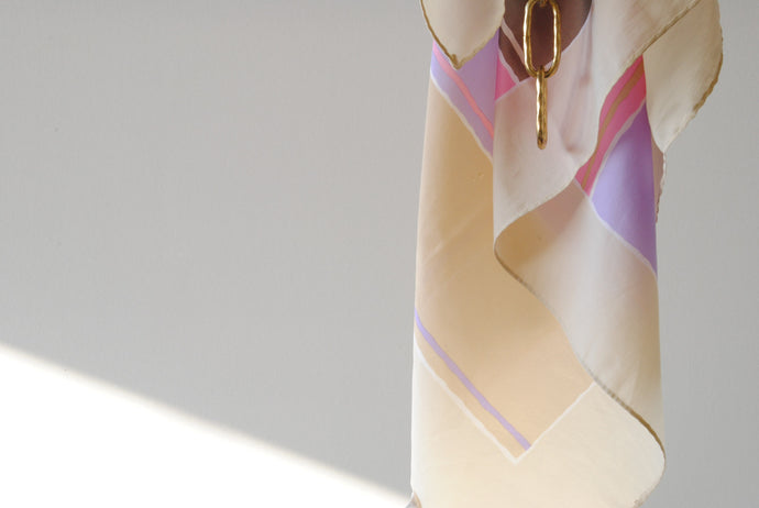 Beige Purple Summer Scarf