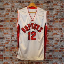 Load image into Gallery viewer, fresh-vintage-red-and-white-basketball-jersey-raptors-number-12-front