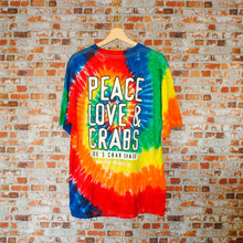 Load image into Gallery viewer, peace-love-and-crabs-tie-dye-tshirt