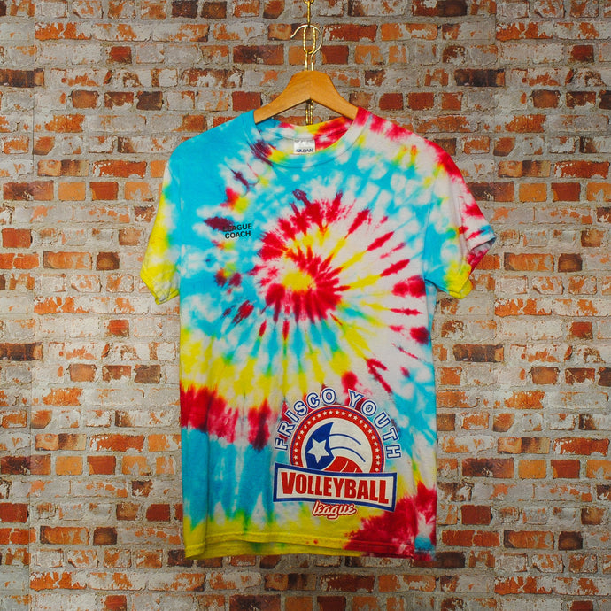 tweedehands-tie-dye-tshirt-van-frisco-youth-volleyball-league-coach-shirt