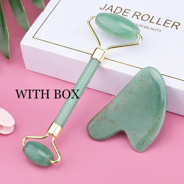 Face Massage Jade Roller Rose Quartz Natural Stone Crystal Slimmer
