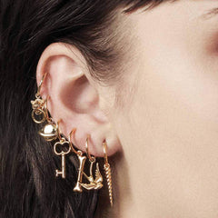 gold hoop earrings, helix earrings with charms