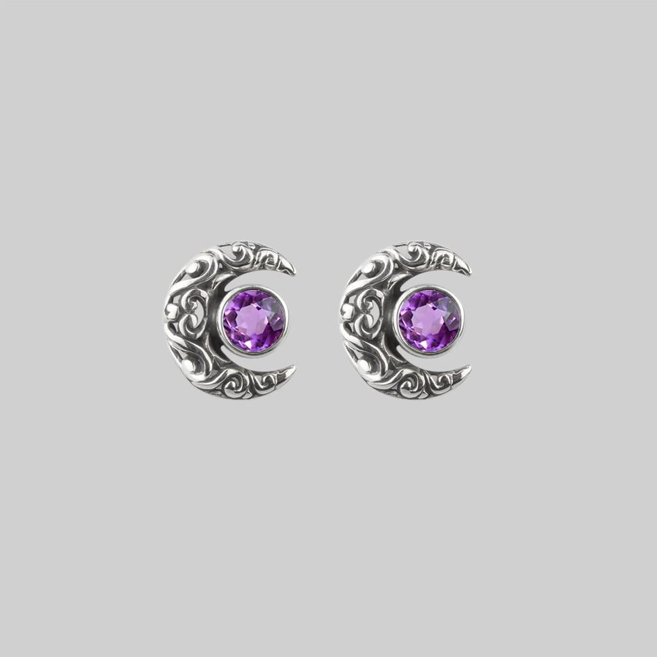 WISDOM. Silver Moon Crescent Earrings - Amethyst