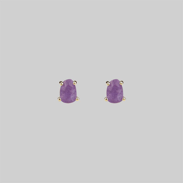 RUNE. Amethyst Slice Gold Earrings