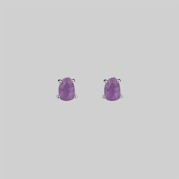RUNE. Amethyst Slice Silver Earrings