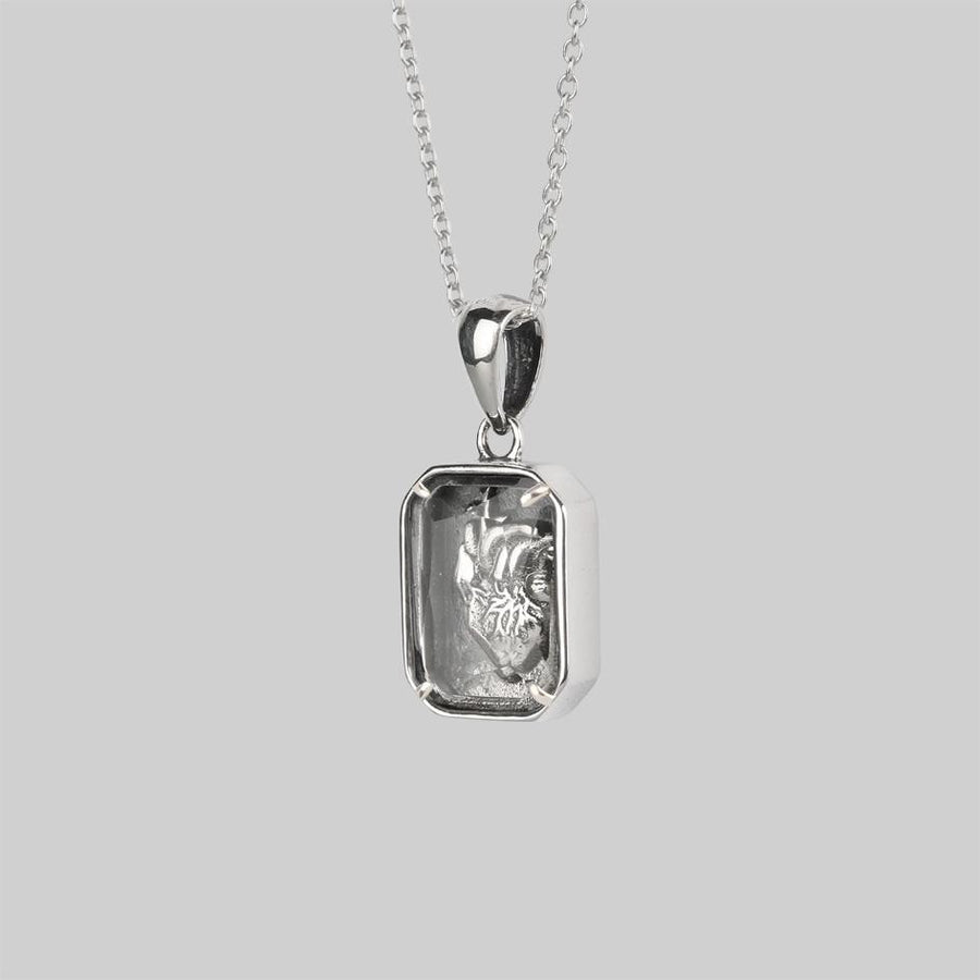Silver heart anatomy necklace