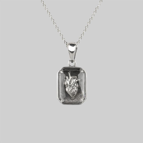 HEART KEEPER. Anatomical Heart Under Glass Necklace - Silver