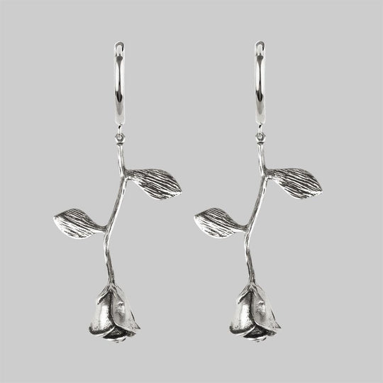 BELLADONNA. Rose Stem Hoop Earrings - Silver