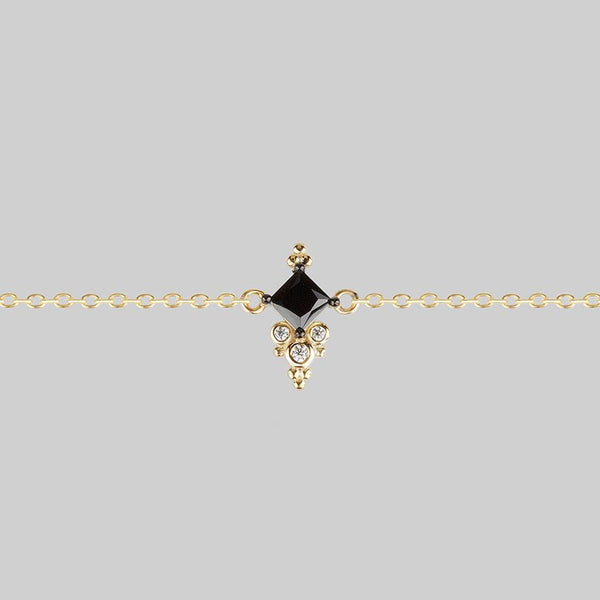 DYNASTY. Black Spinel Triliogy Chain Choker - Gold