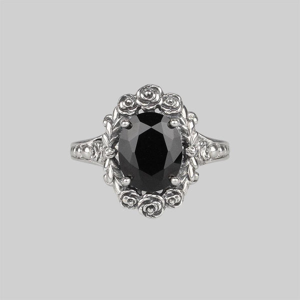 MARIA. Rose Wreath Onyx Silver Cocktail Ring
