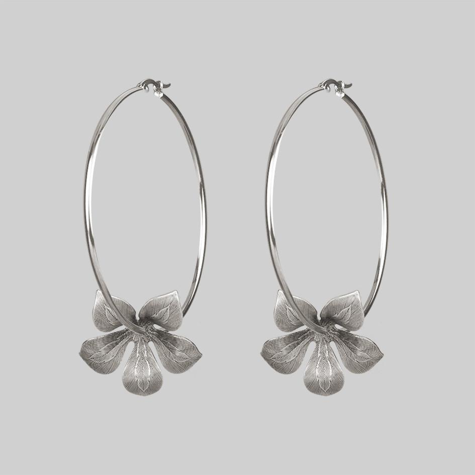 BLOOM. Floral Hoop Earrings - Silver