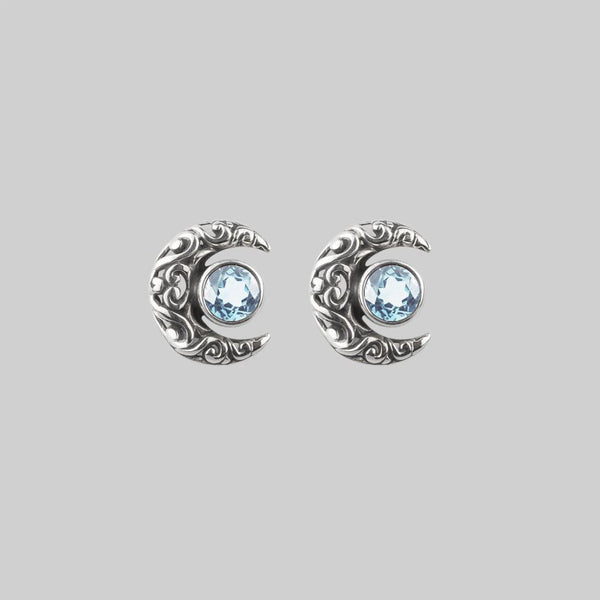 WISDOM. Silver Moon Crescent Earrings - Blue Topaz