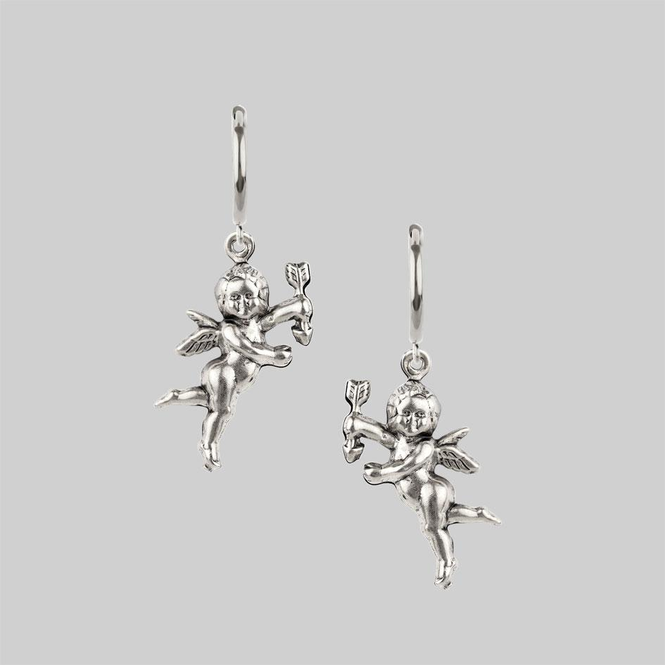 Silver cherub hoop earrings