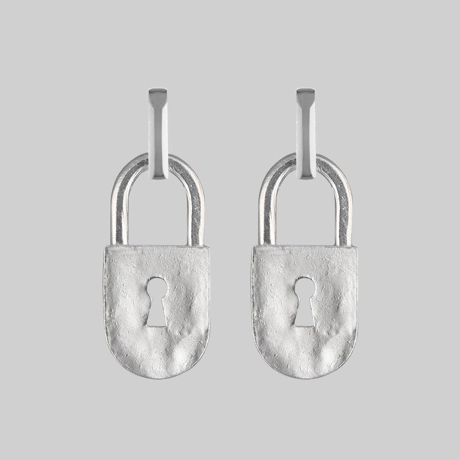 Chunky silver padlock hoop earrings