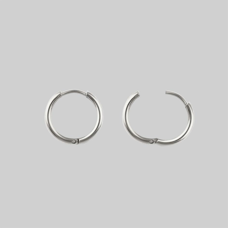 FORBIDDEN. Heart Dagger Hoop Earrings - Silver