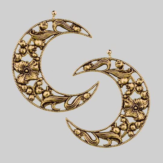 ECLIPSE. Huge Floral Crescent Earrings - Antique Gold