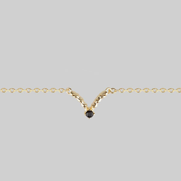 CUPID. Black Spinel Chevron Collar - Gold