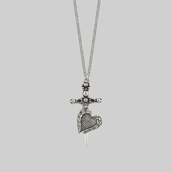 FORBIDDEN. Heart Dagger Necklace - Silver