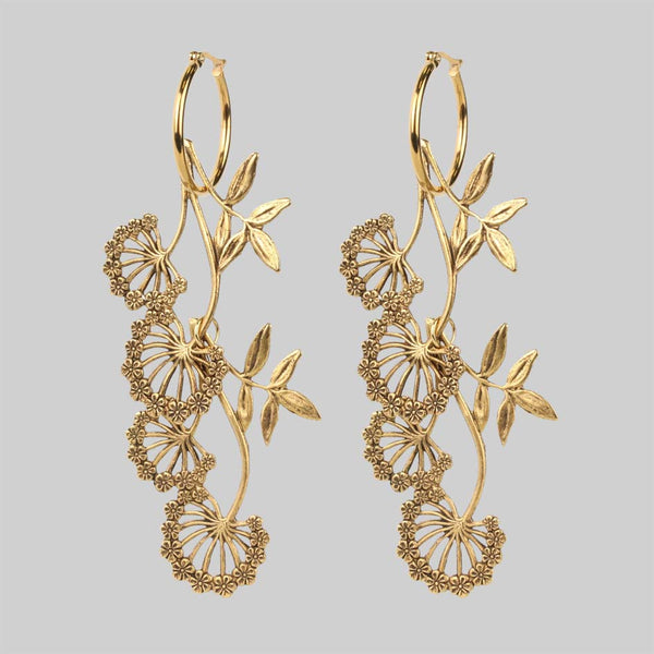 AELLA. Floral Drop Hoop Earrings - Gold