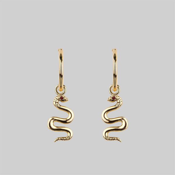 DIVINITY. Garnet Snake Hoop Earrings - Gold