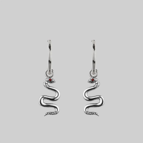 DIVINITY. Garnet Snake Hoop Earrings - Silver