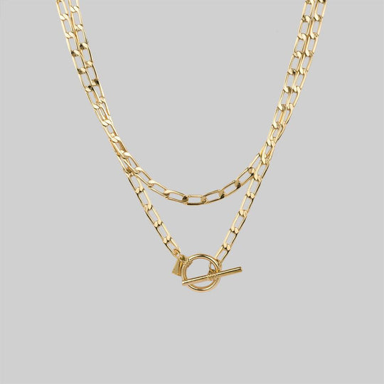 ETERNAL. Double Wrap T-Bar Necklace - Gold