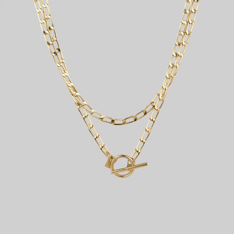 Double wrap chain necklace with t-bar