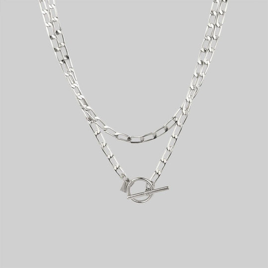 ETERNAL. Double Wrap T-Bar Necklace - Silver
