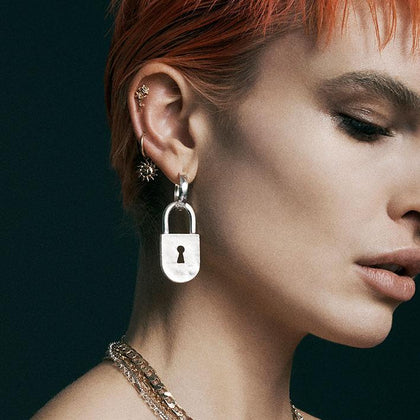 ABSOLUTE. Padlock Hoop Earrings - Silver