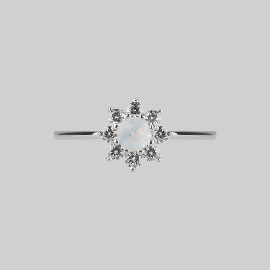 Simple Opal Cluster Silver Ring Front View