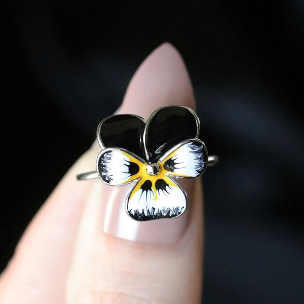 black hand painted flower sterling silver ring