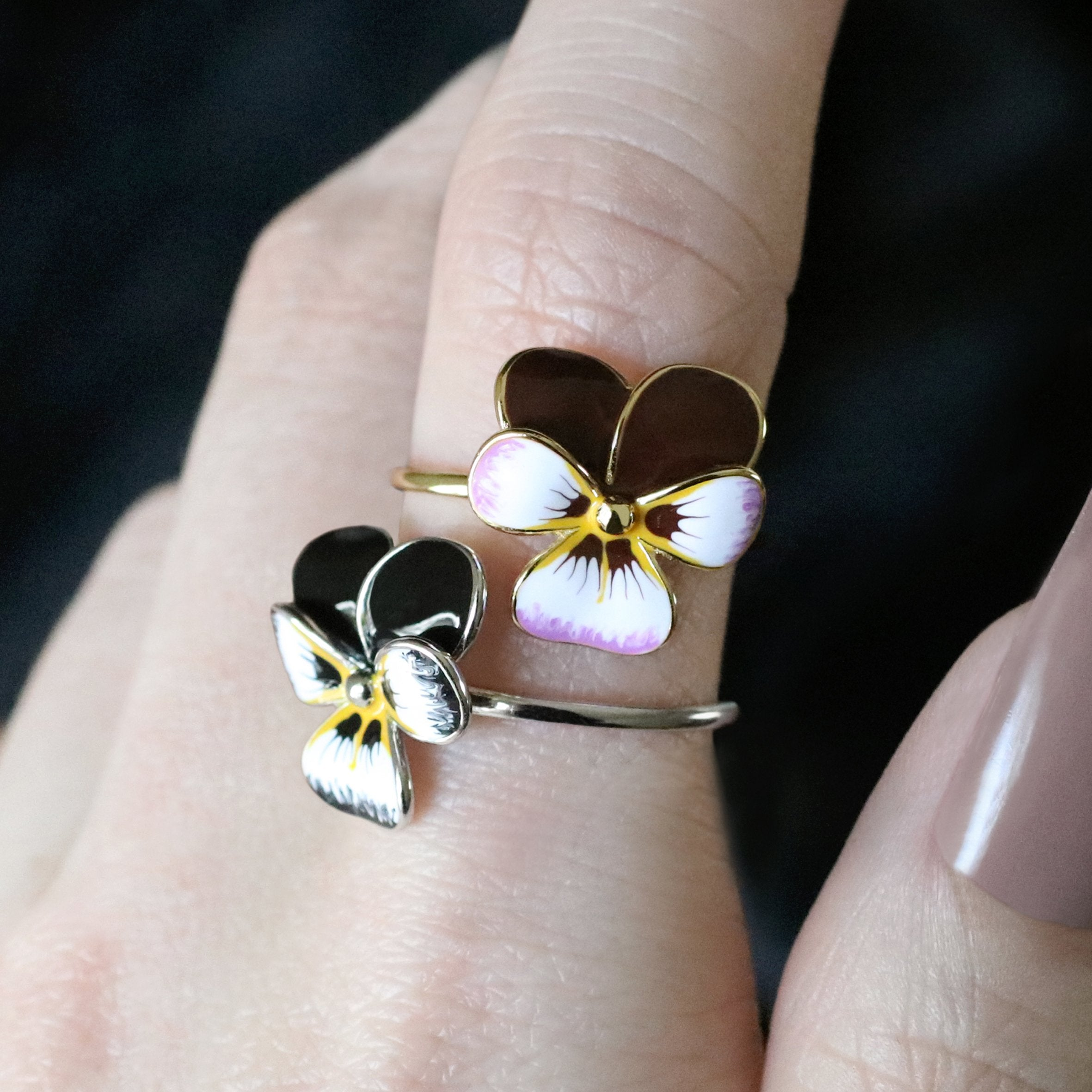 flower pansy rings