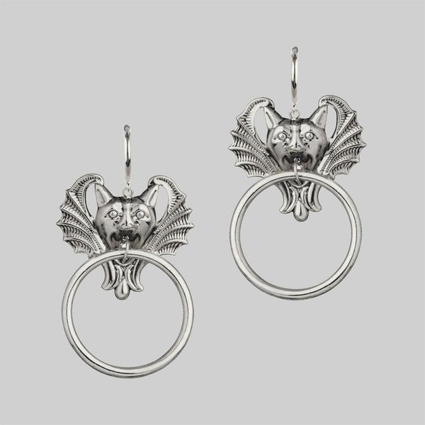 DRAKKAR. Gargoyle Knocker Hoop Earrings - Silver