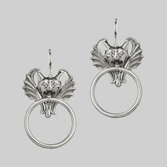 Silver gargoyle earrings
