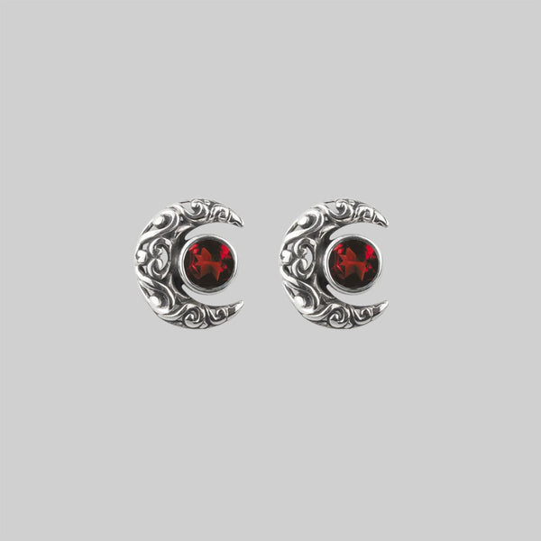 WISDOM. Silver Moon Crescent Earrings - Garnet