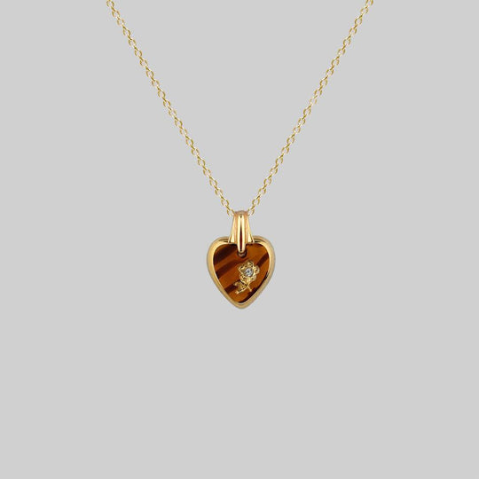 DOROTHY. Vintage Glass Heart Engraved Rose Pendant Necklace