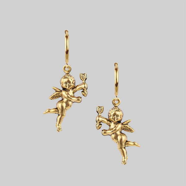 DAY DREAMER. Cherub Hoop Earrings - Gold