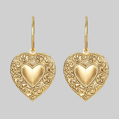 LOVE STRUCK. Heart Hoop Earrings - Gold