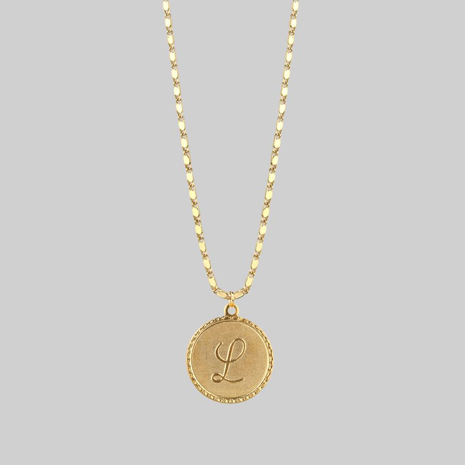 Gold initial medallion necklace