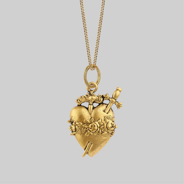INFERNO. Sacred Heart Necklace - Gold