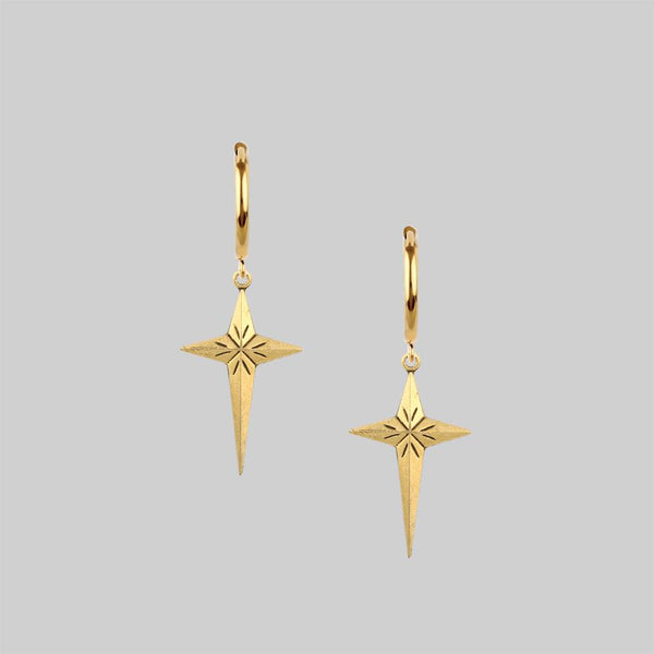 ETERNITY. Starburst Cross Earrings - Gold