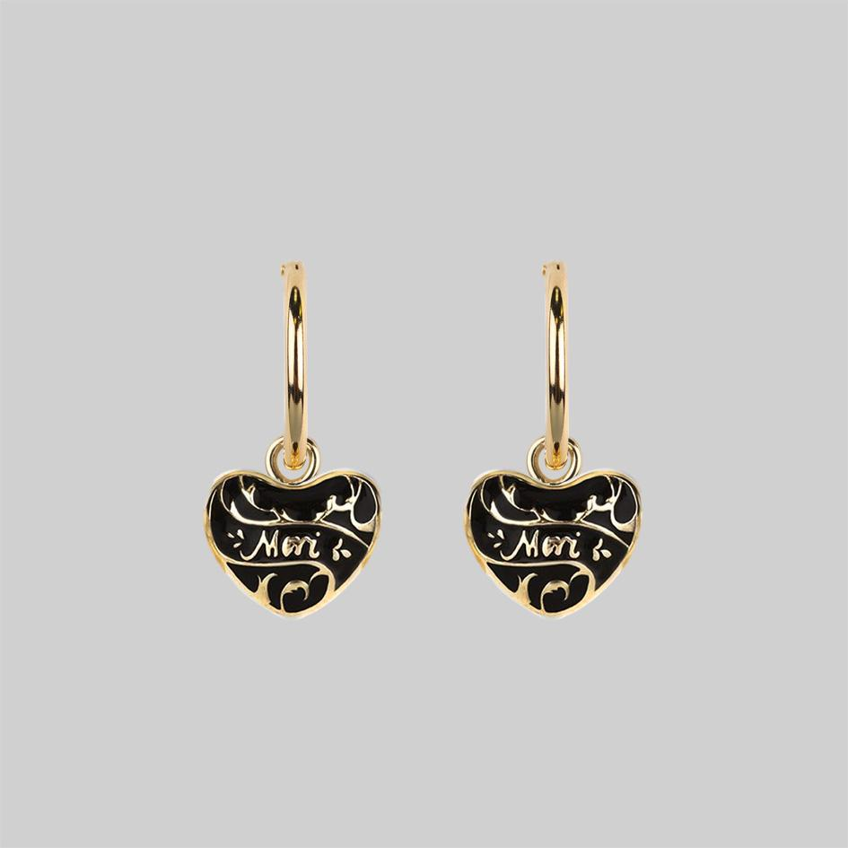 Gold heart mini hoop earrings