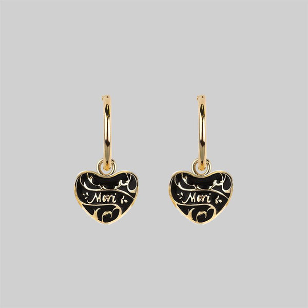 MEMENTO MORI. Heart Hoop Earrings - Gold