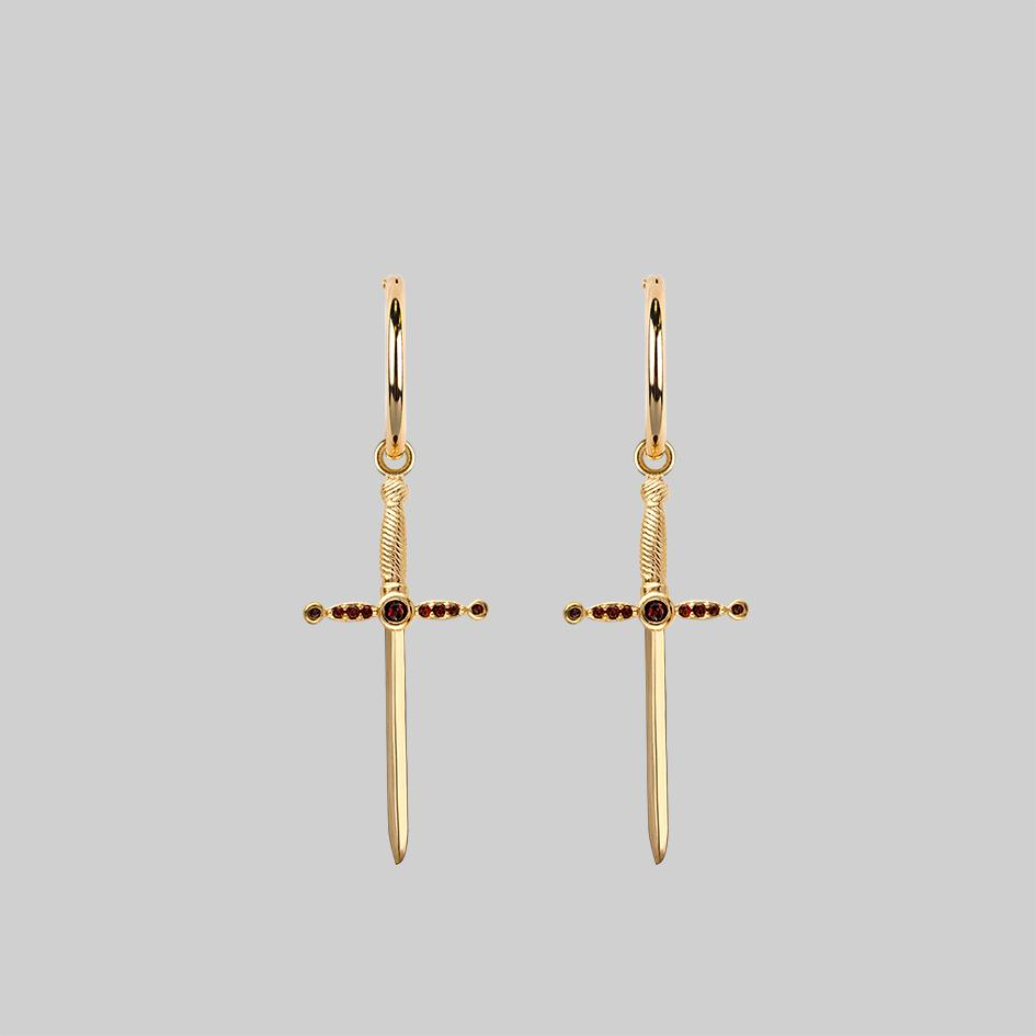 Gold-and-garnet-dagger-hoop-earrings